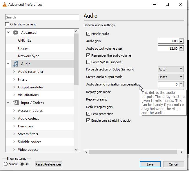 set 'Audio desynchronization compensation' in VLC