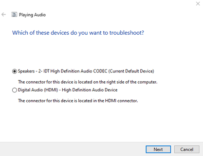 Select audio device to troubleshoot