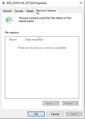 recover usb with Previous Versions window
