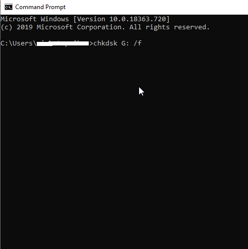 use Command Prompt in Windows 10 to recover  USB