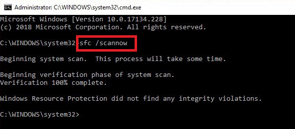 Type SFC/Scannow command in the command prompt window