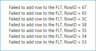 Failed to add row to FLT error resolved