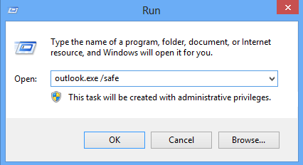Type outlook.exe / safe and press 'Enter'