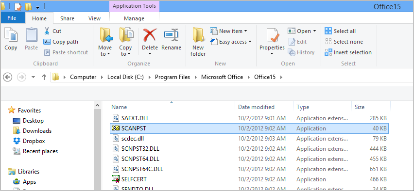 Find and launch SCANPST.EXE utility