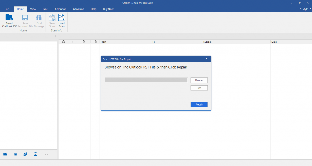 Select PST File for Repair dialog box