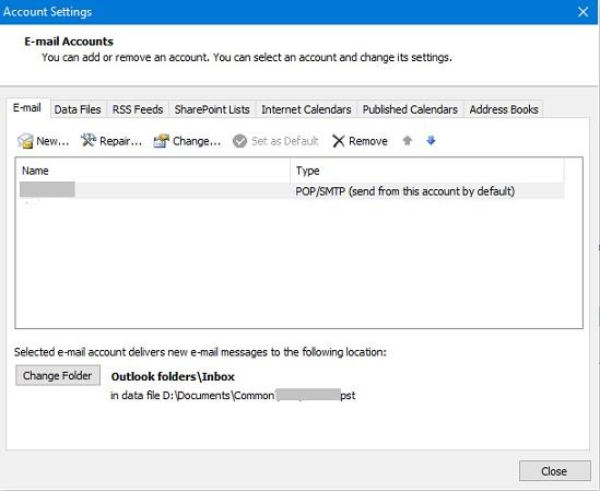 outlook account settings window