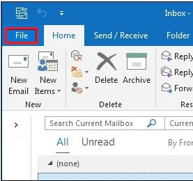 go to outlook file menu