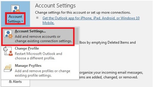 select account settings in outlook