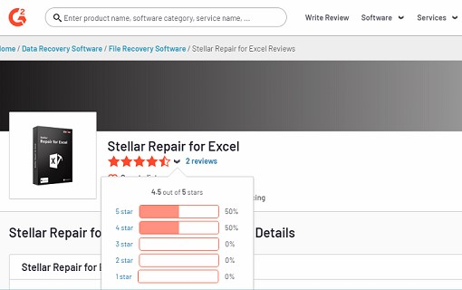 Stellar Repair for Excel software by g2.com