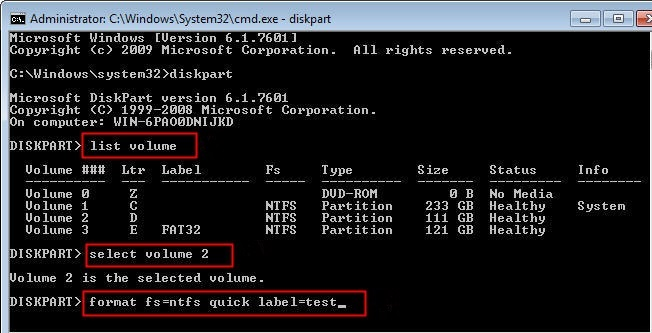 Format SD card Command lines in diskpart-Fix SD Card Won't Format Error