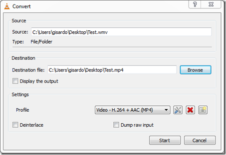 Convert window in VLC -fix error 0xc10100be