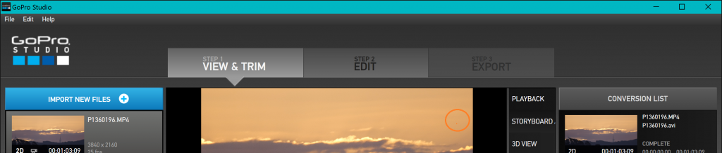 import file in right Step GoPro Studio to fix fails to import video issue