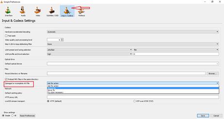 Preferences window in VLC - Repair AVI file