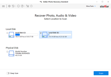 Select location to scan in Stellar PSD Recovery software