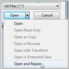open and repair excel file