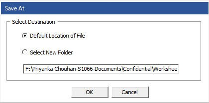 repaired access database file saved at desired location