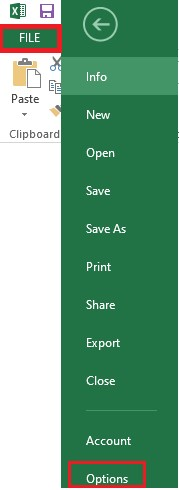 select excel options