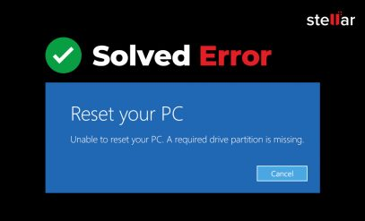 Unable to reset your PC - a required drive partition is missing