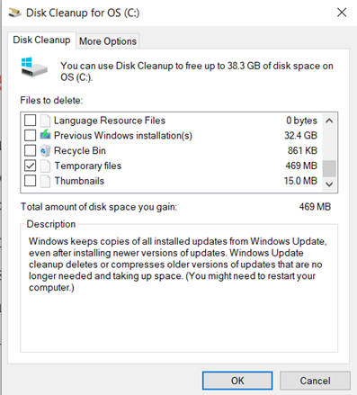 Deleting temporary files using Disk Cleanup in Windows