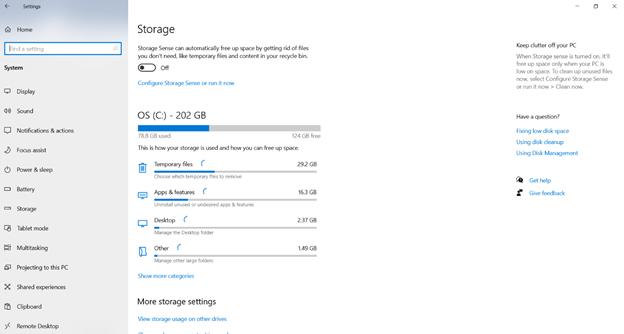 Erasing temporary files using Windows settings