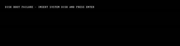 Disk boot failure error message