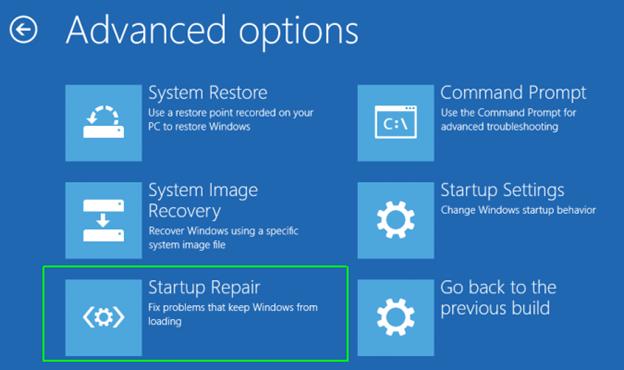 "Startup Repair option in ""Repair your computer"" feature"