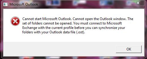 Cannot Start Microsoft Outlook error