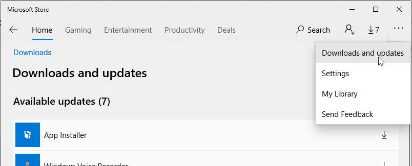 Apps update in Microsoft Store- Fix Windows 10 not open JPG