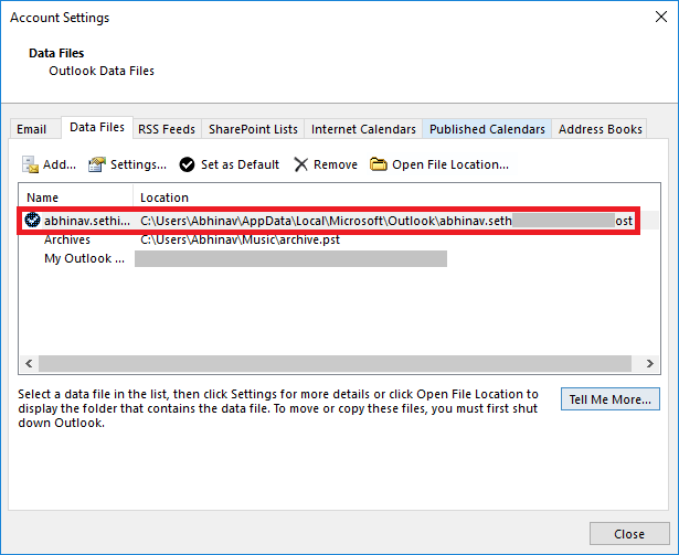 OST file location in Account Settings