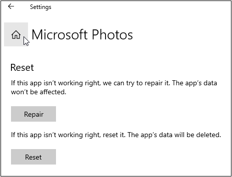 Repair photo viewer program in Windows 10