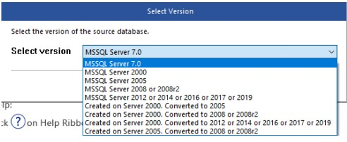 illustrates selection of SQL database version