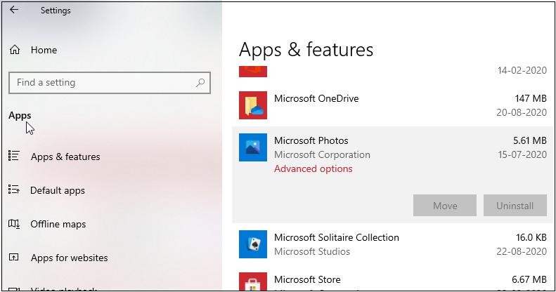 Fix Windows 10 not open JPG -Advanced options in Photos App