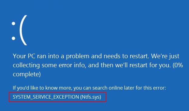 system-service-exception-ntfs.sys-error-windows-10