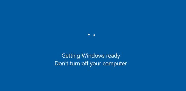 """The error message """"'Getting Windows Ready, Don't Turn off Your Computer"""""""