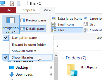 fix photos app in WIndows -Show libraries under Navigation pane