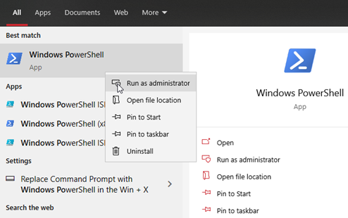 Figure: Windows PowerShell in Windows 10