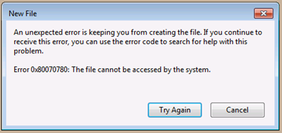 "Error message ""The file cannot be accessed by the system"""