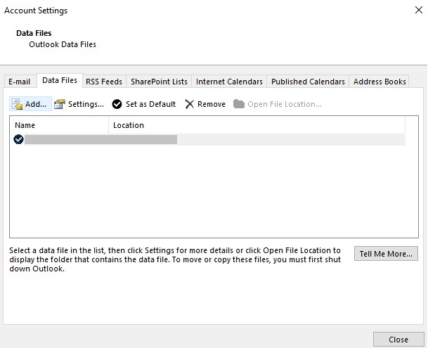 add outlook data file from account settings