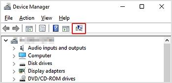 Fix Win 10 not recognize Canon -Scan for hardware changes button