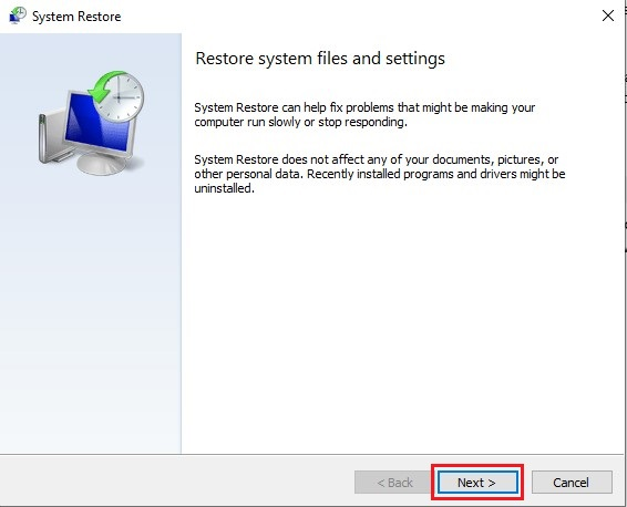 Click Next on System Restore window