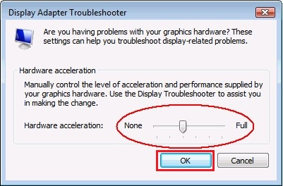 Drag Hardware acceleration to Full and click OK