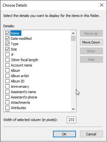Choose Details options in File Explorer
