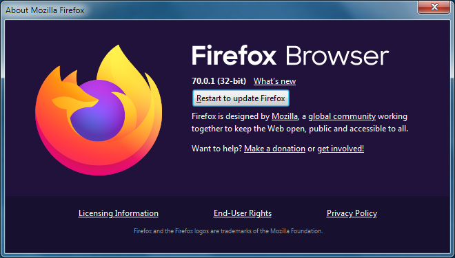 Firefox to update button