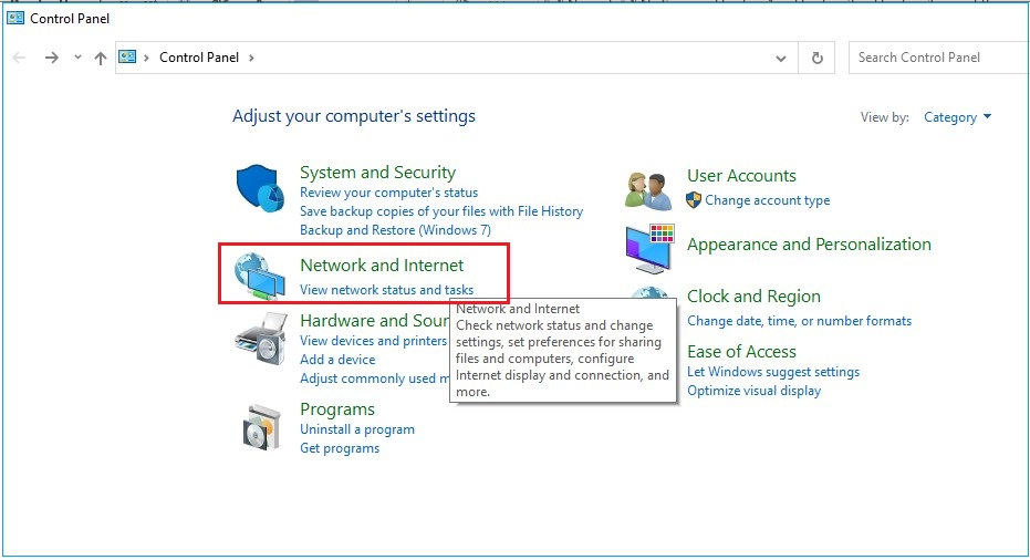 Go to Control Panel and open Network and Internet