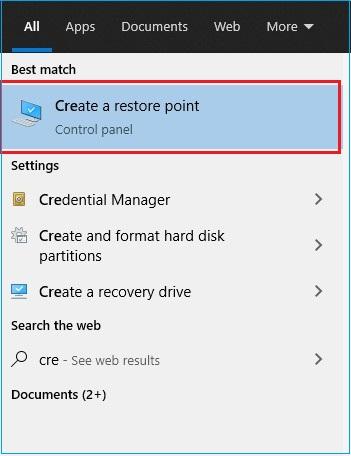 Open Create a restore point
