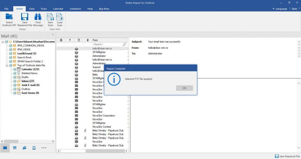 Using Stellar Repair for Outlook to repair PST file