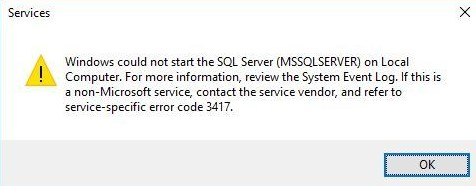 sql error 3417
