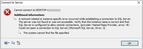 cannot connect to sql server error