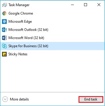 Select End task to close the programs