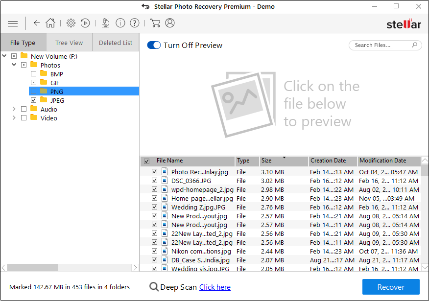 Sort scan results in Stellar Photo Recovery